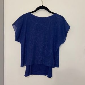 Express Blue Shimmer Layered Top